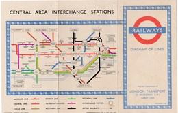 Plan Du Métro De LONDRES = Railways London Underground 1953 - Europe
