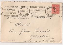 PARIS 64 R. DE LOURMEL.1932 CHEQUES POSTAUX... - Oblitérations Mécaniques (flammes)