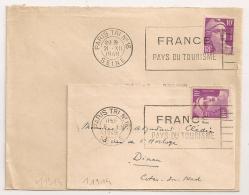 2 FLAMMES, PARIS TRI N°16 SEINE FRANCE PAYS DU TOURISME, 1948 Et 1949. - Oblitérations Mécaniques (flammes)