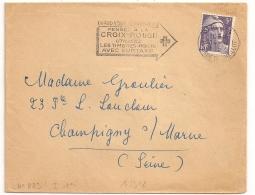 PARIS 74 1 BIS RUE DE CHAILLOT. PENSEZ A LA CROIX ROUGE....1952 - Oblitérations Mécaniques (flammes)