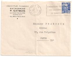 PARIS XV R. D'ALLERAY (15e) CONDUCTEUR SOGNALEZ....1953 - Oblitérations Mécaniques (flammes)