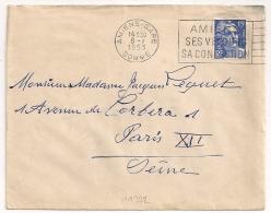 AMIENS GARE Somme SES VELOURS SA CONFECTION. 1953. - Oblitérations Mécaniques (flammes)