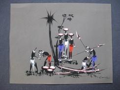 Dessin Art Africain : Les Chasseurs & - Afrikanische Kunst
