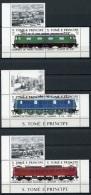 Sao Tome And Principe, 1988, Locomotives, Trains, Railroads, MNH Pairs With Tab, Michel 1049-1054 - Sao Tome En Principe