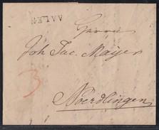 Brief L1 Aalen 24.9.1829 Gelaufen Nach Noerdlingen - Deutschland