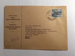 Schweiz OMS ORGANISATION MONDIALE DE LA SANTÉ Dienstmarke Znr 13 GENÉVE 1952 Brief (lettre Cover UNO Medecine Medizin