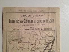 Chemin De Fer, Paris à Orlean, 1896, Publicité Vers Les Stations Thermales Et Excursions En Touraine - Europe
