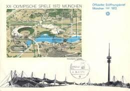 Bund 1972 Michel # Block 7 Auf Offizieller Eröffnungsbrief Mit Silber Prägung - Sommer 1972: München