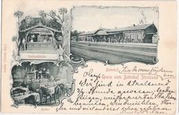 STRALSUND Vor Pommern Bahnhof Gleisseite Belebt Verkaufshalle Buffet Jugendstil 22.6.1900 Gelaufen - Stazioni Senza Treni