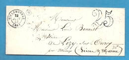 Seine - Villemonble Pour Lizy Sur Ourcq Par Meaux. CàD Type 15 + Taxe Tampon 25 - 1849-1876: Classic Period