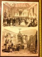 GRAVURE 1860 CHATEAU DE COMPIEGNE SALON DE RECEPTION CHAMBRE A COUCHER DU ROI DE PRUSSE - Vieux Papiers