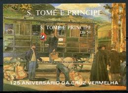 Sao Tome E Principe, 1988, Red Cross, 125th Anniversary, Health Care, Train, MNH, Michel Block 183 - Sao Tome En Principe
