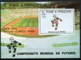 Sao Tome E Principe, 1988, Soccer World Cup Italia, Football, MNH, Michel Block 187 - Sao Tome En Principe