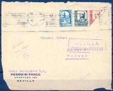 1937 , SEVILLA , FRANQUEO CON SELLO BISECTADO , ED. 823 , LOCAL PRO SEVILLA , CENSURA MILITAR - 1931-Hoy: 2ª República - ... Juan Carlos I