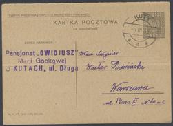 G583 Ganzsache Postkarte 1935 Polen 15 Gr. Handstempel Kuty Nach Warszawa Warschau - Postwaardestukken