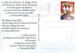 """Timbre* De 2008 Sur CP """"Noël - Le Traineau Du Père Noël Chargé De Cadeaux"""" - Monaco"""