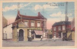 Herstal - Place Laixhaut Et Chapelle Saint-Rock (animation, Librairie, Colorisée) - Herstal
