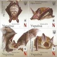 UKRAINE 2016 ANIMALS BATS Bechstein's Bat WWF 4V MNH ** - W.W.F.
