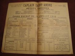 Document De CAPLAIN SAINT-ANDRE Paris Cours D'achat Du 23 Juillet 1934 - 1900 – 1949