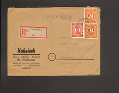 Alli.Bes.2 X 24 U.60 Pfg. Ziffer Auf Einschreibe-Fernbrief Aus Osnabrück  Von 1947 Ankunftstempel - Gemeinschaftsausgaben