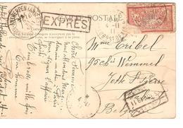 TP 119(déf) S/CP Paris En Exprès Griffe Encadrée V.Jette C.d'arrivée CF+passage Ambulant Quevrain-Antwerpen 5/11/1911 - Postmark Collection