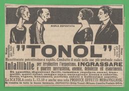 Pubblicità Adbversing Tonol 1926 Grassi E Magri - Health & Beauty