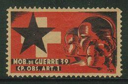 Suisse // Schweiz // Switzerland // Vignette Militaire 1939-45 // Artillerie-Beobachter, Cp.Obs.Art. 1 No 1 - Soldaten Briefmarken