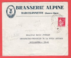 L Pub Brasserie Alpine BARCELONNETTE  Biere  Beer  TP 283 A Obl 13 VIII 1935 Vers Guillestre - Marcophilie (Lettres)