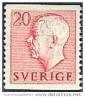 ZWEDEN 1951-1957 20õre Gustaf VI Adolf Type I Rood PF-MNH