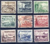 DEUTSCHES REICH 1937 Winterhilsfswerk: Ships Set Of 9 Used.  Michel 651-59 - Used Stamps
