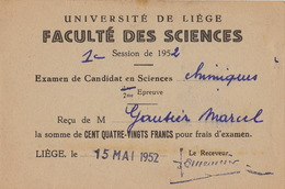 Carte étudiant Université De Liège Examen Chimie 52 - Documents Historiques