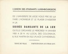 Carte Invitation étudiant Université De Liège Union Des étudiants Luxembourgeois - Historical Documents