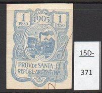 Argentina 1905 Santa Fe Province Revenue Showing A Steam Traction Engine - Farming. 1 Peso – Pen Cancel - Trains