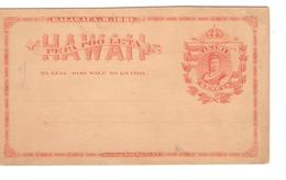 Entire Hawai Mint Kalakaua .R.1881 Pepa Poo Leta Akahi Keneta PR3884 - Hawaii