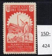 Spanish Morocco Revenue / Fiscal : Ploughing, Farmer And Railway Train On Bridge 10 Cts. MH. - Trains