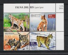 Bosnien-Herzegowina Mostar Bosnia 2011 Mi#  327 - 330  ** MNH Luchs Lynx Wildcats Fauna - Bosnie-Herzegovine