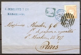 1870 , BARCELONA - PARIS , CARTA CIRCULADA , FRANQUEO ED. 113 , 12 CUARTOS , MAT. PARRILLA NUMERADA Nº2 , LE PERTHUS - 1868-70 Gobierno Provisional