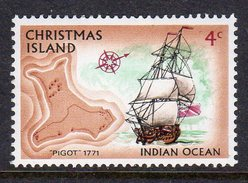 CHRISTMAS ISLAND - 1972 4c PIGOT SAILING SHIP STAMP FINE MNH ** SG 40 - Christmas Island