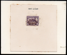 New Brunswick 1860 1c Railway Train Printers' Imperf Proof Stuck To Card-on-card, Identifying Red-Lilac Shade. - Trains