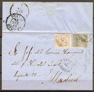 1874 , AVILA , CARTA CIRCULADA ENTRE ARÉVALO Y MADRID , ED. 141 , 153 ESCUDO DE ESPAÑA , LLEGADA - 1873 1. Republik