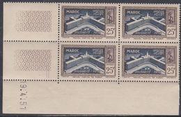 Maroc N° 304 XX , Solidarité : 25 F. Brun-lilas Et Bleu Foncé, En Bloc De 4 Coin Daté Du 19 . 4 . 51; Sans Charnière, TB - Unused Stamps