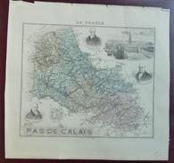 """Gravure 19 ème.  Atlas Migeon  1874 CARTE DU DÉPARTEMENT  """"Pas De Calais 62"""" - Cartes Géographiques"""