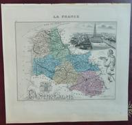 """Gravure 19 ème.  Atlas Migeon  1876 CARTE DU DÉPARTEMENT  """"Pas De Calais 62"""" - Geographical Maps"""