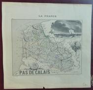 """Gravure 19 ème.  Atlas Migeon  1878 CARTE DU DÉPARTEMENT  """"Pas De Calais 62"""" - Cartes Géographiques"""