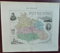 """Gravure 19 ème.  Atlas Migeon  1874 CARTE DU DÉPARTEMENT  """"Puy De Dôme 63"""" - Cartes Géographiques"""