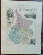 """Gravure 19 ème.  Atlas Migeon  1874 CARTE DU DÉPARTEMENT  """"Hautes Pyrénées 65"""" - Cartes Géographiques"""