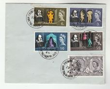1964 Prudhoe Station Cds GB FDC SHAKESPEARE Stamps Cover Theatre Train Railway - 1952-1971 Em. Prédécimales