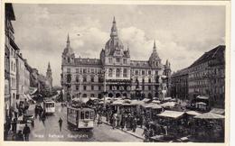 Graz-Rathaus-Hauptplatz,Strassenbahn Nr.5-Marktplatz. - Graz