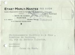 Carte Commerciale - NANTES - Ets MARLY - RTE DE CLISSON - Edition Pub - Nantes