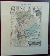 """Gravure 19 ème.  Atlas Migeon  1874 CARTE DU DÉPARTEMENT  """"Seine Et Marne 77"""" - Geographical Maps"""